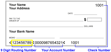 Where to find routing number